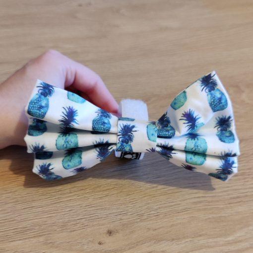 Noeud papillion chien - Ananas bleu