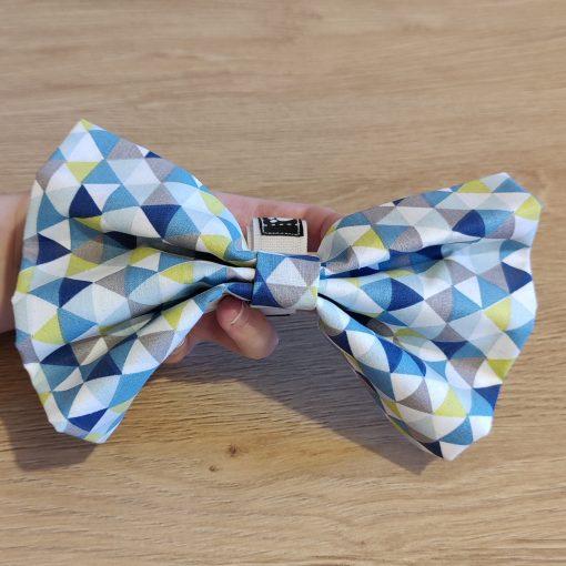 Noeud papillion chien - Géométrique bleu